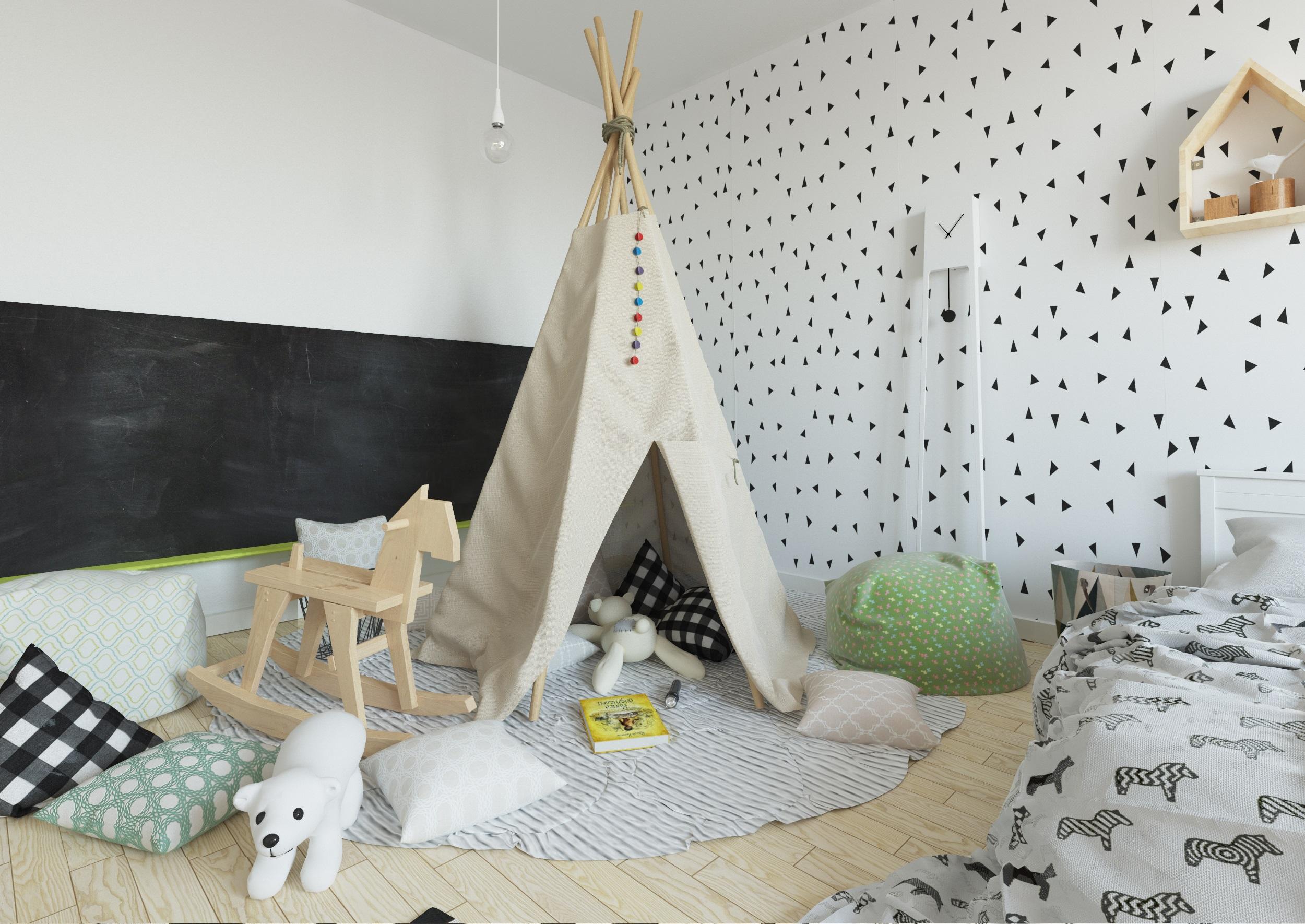 Вигвам в интерьере детской комнаты