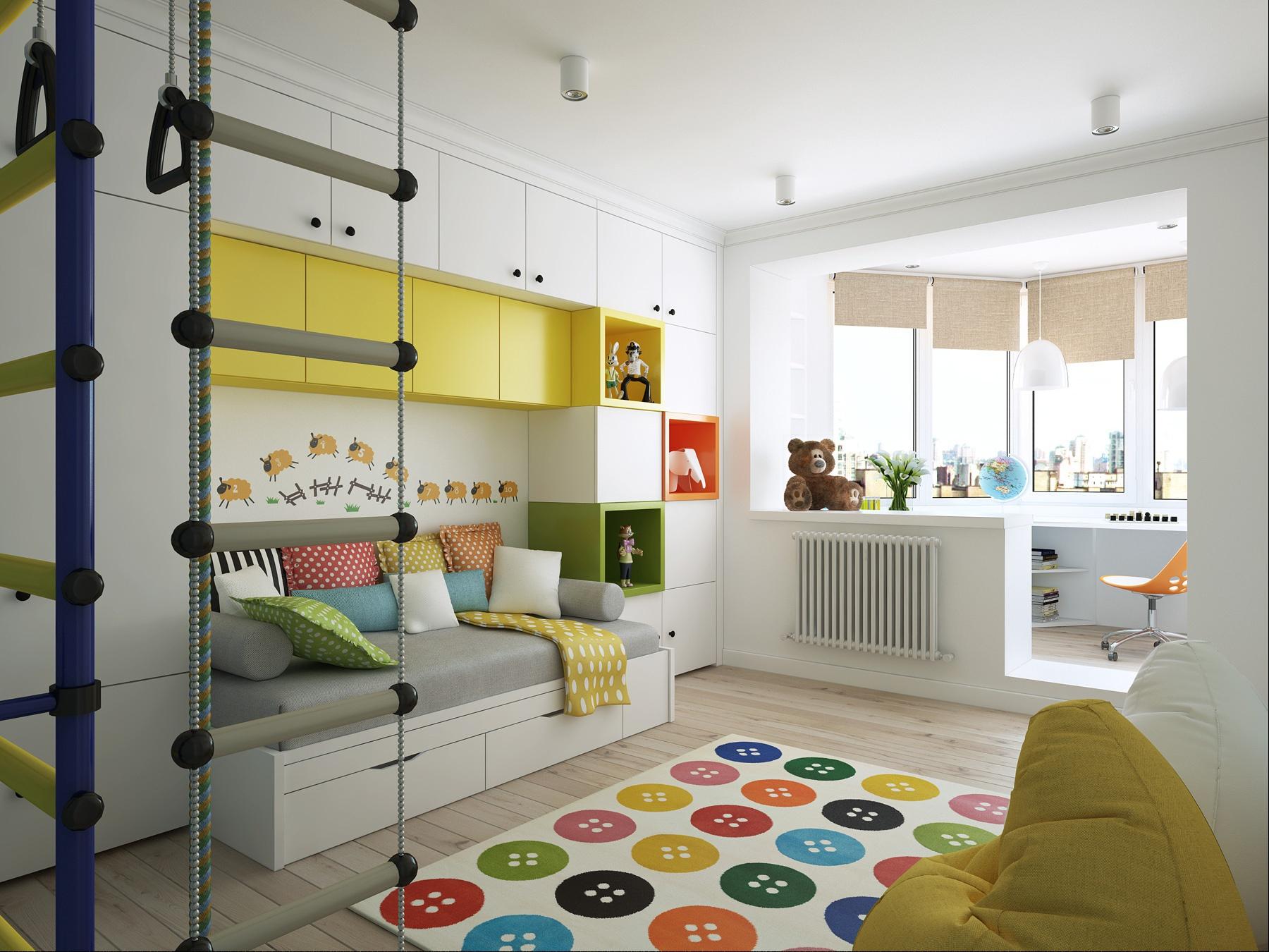 Балкон в детской комнате: варианты использования