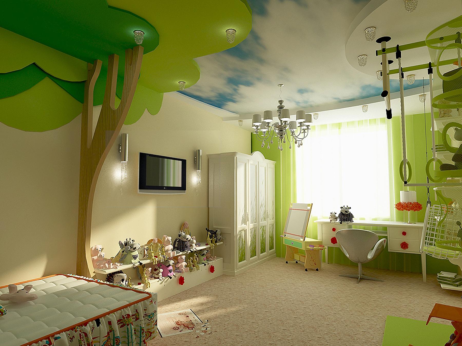 Виды потолков для детской комнаты